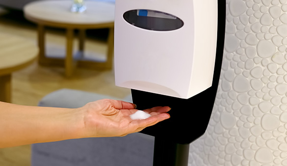 Does the property have hand sanitizing stations?
